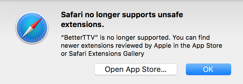 Safari not working with BTTV - BetterTTV - NightDev Community Forums