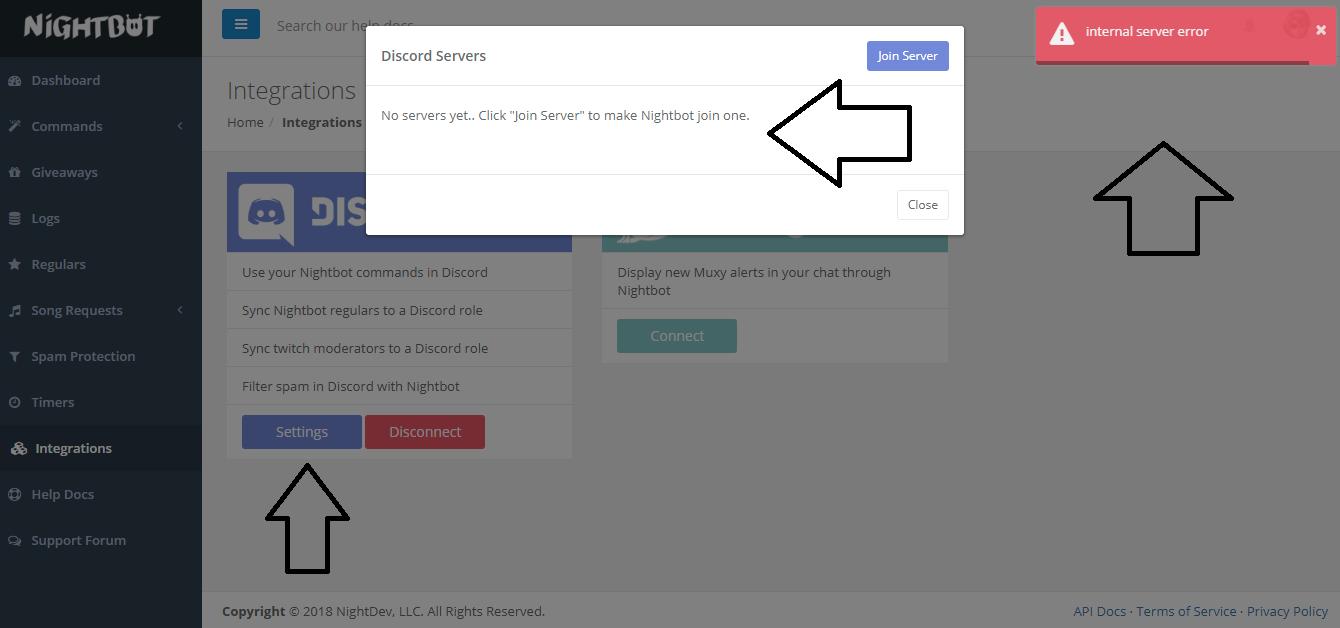 Discord nigthbot page say internal server error - Nightbot