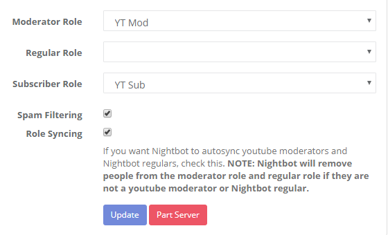 Not giving YouTube chat moderators their role on Discord