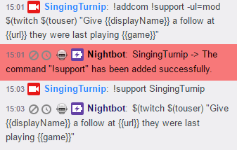 support - Their name and URL - Nightbot - NightDev Community